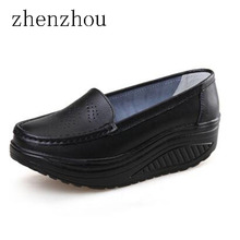 2017 spring genuine leather soft outsole work shoes female black swing shoes woman plus size  wedges single female shoes
