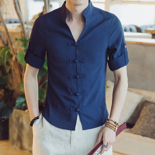 bfff9a5bfb17 2018 Chinese Cotton Linen Casual Men Shirt Slim Fit Short Sleeve White Summer  Shirts Male Chemise Homme White Short Shirt Man