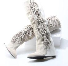 552935676 Outono Inverno Borla Botas Até o Joelho Mocassim Botas Dedo Apontado Cunhas  Confortáveis Saltos Altos Femininos