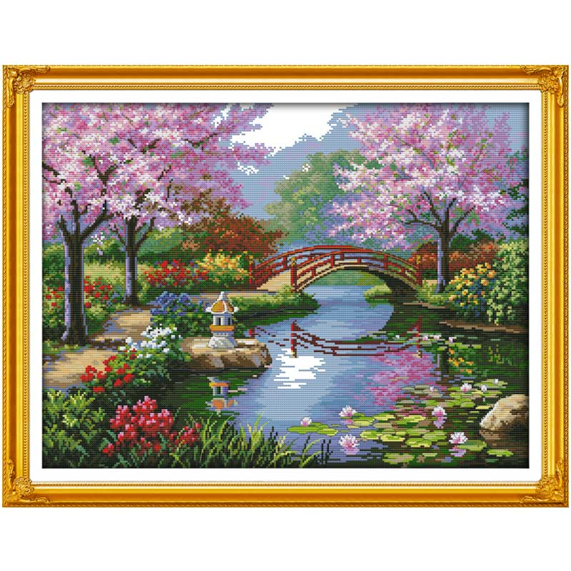The Beautiful Scenery of Park Counted Cross Stitch 11CT 14CT Cross Stitch Kits for Embroidery Home Decor Needlework