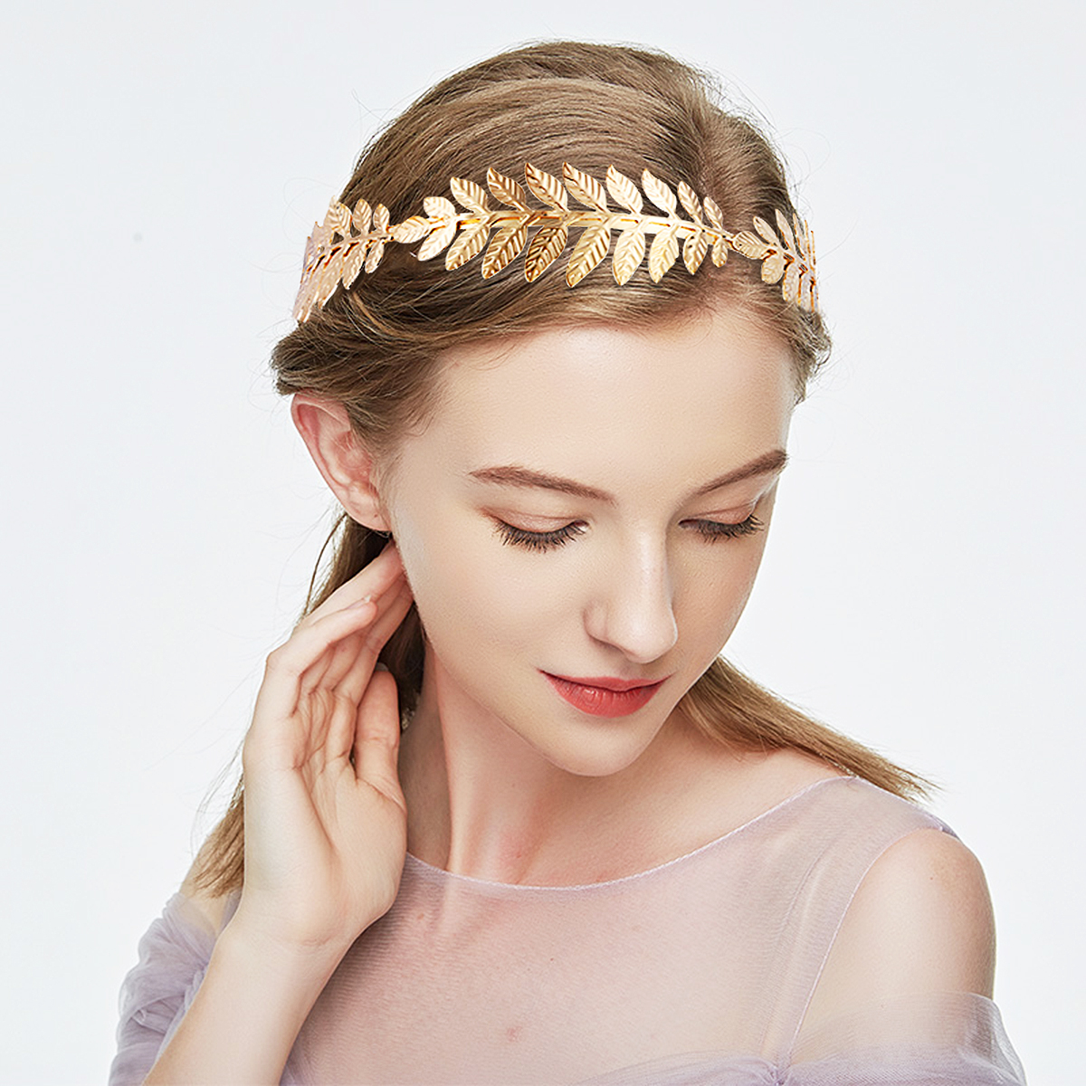 goddess leaf branch headband dainty bridal hair crown head dress boho alice band