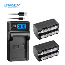 SANGER 2Pcs 7.2V NP-F770 NP-F750 NP F770 F750 NPF770 750 Batteries + LCD USB Battery Charger for Sony CCD-RV100 DCR-TRU47E