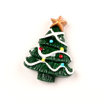 LF 10Pcs Resin  Christmas Tree Patch Decoration Crafts Flatback Cabochon Embellishments For Scrapbooking Diy Accessories