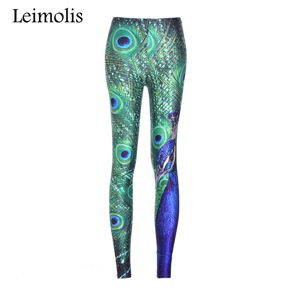 98005090af Leimolis 3D printed fitness push up workout leggings women gothic green  Peacock feather plus size High