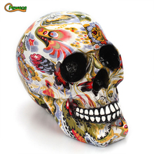 Horror Home Decorative Craft Resin Color Flower Skull Head Skeletons Halloween Decoration Ornaments Skeleton