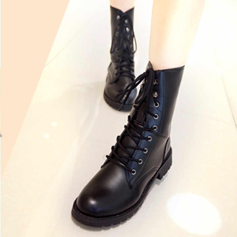 40b1dfb0 CAGACE 2018 botas de mujer de marca con cordones botas planas de combate  para motociclista botas