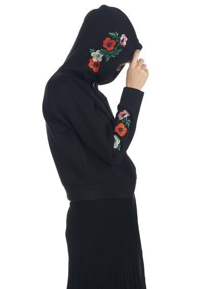 Fleur Hiver Capuchon Black Coton À Occasionnels Broderie En Nouveau Outerwears 2018 Manteau Frais O6ntqx