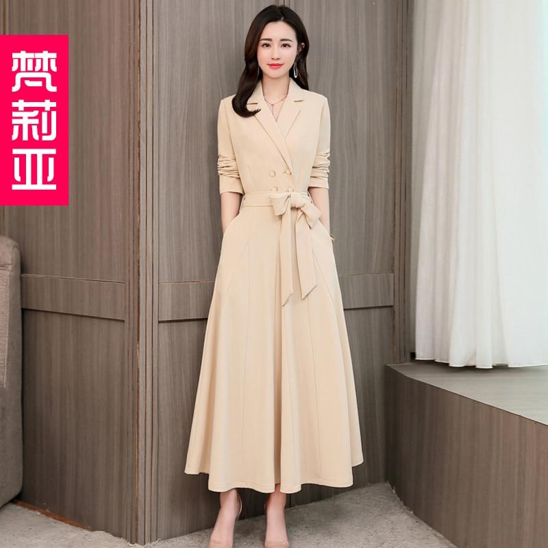 Spring and Autumn 2019 New Women's Dresses Korean Edition Long Sleeve Dresses Overlap Long Popular Temperament with Bottom 103