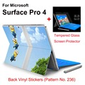 2017 Hot Sale For Surface Pro 4 Stickers Tablet Vinyl Decal Netbook Totora Skin+Explosion-proof Tempered Glass Screen Protector