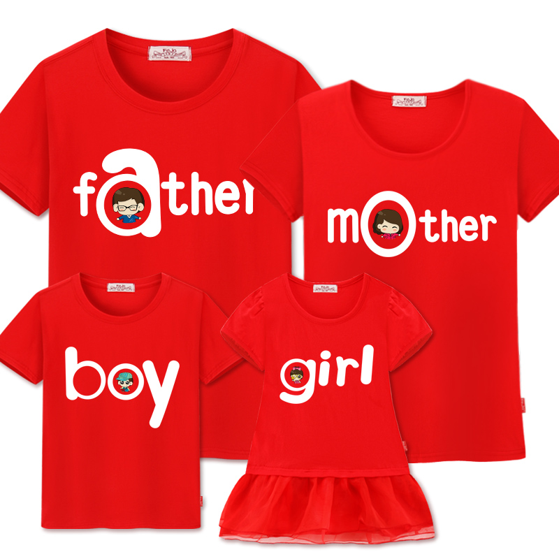Family Matching Clothes Mommy And Me Clothes Cotton Short Sleeve Father Mother Boy Family Look Dress Mother Daughter Dresses