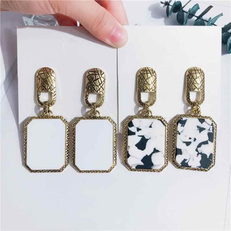 Korean Vintage Statement Earrings For Women Geometric Square Leopard Earings Temperament Party Night Club Ear Jewelry Bijoux