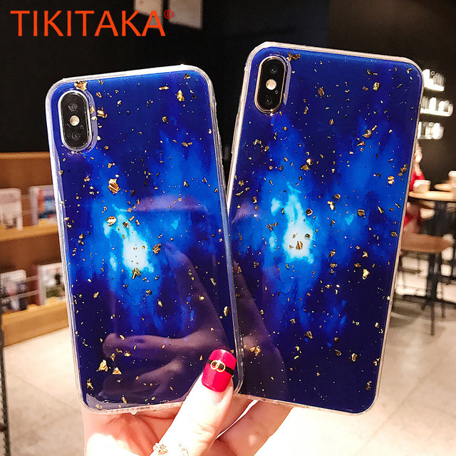 pretty nice edbbc 74c63 US $2.63  TIKITAKA Fantasy Gold Foil Case For iphone XS XR XS Max X 6 6S 7  8 Plus Dreamy Sky Soft Epoxy Phone Back Cover For iPhone XS -in Fitted ...