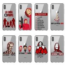 Spain TV La Casa de papel Soft TPU Phone Case for Apple iPhone X 5S SE 6 6S Plus 7 7Plus 8 XR XS MAX Clear silicone Cover
