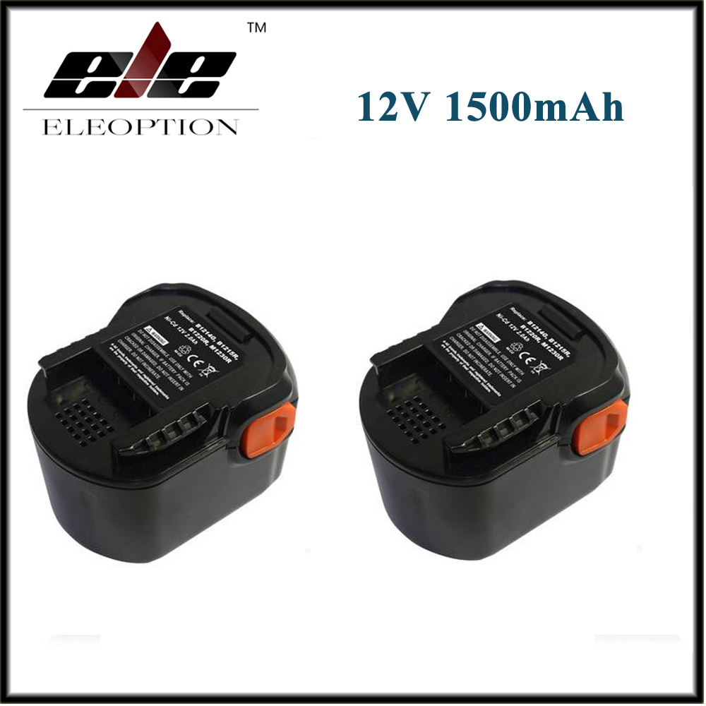 2PCS Eleoption Rechargeable battery 12V 1500mAh 1.5 Ah Ni-CD For B1214G,B1215R,B1220R,M1230R,BS12G,BS12X,BSB12G,BSB12STX,BSS12RW 12v 3 0ah 3000mah ni mh battery for ryobi b 1230h b 1222h b 1220f2 b 1203f2 1400652 1400652b 1400670 cordless