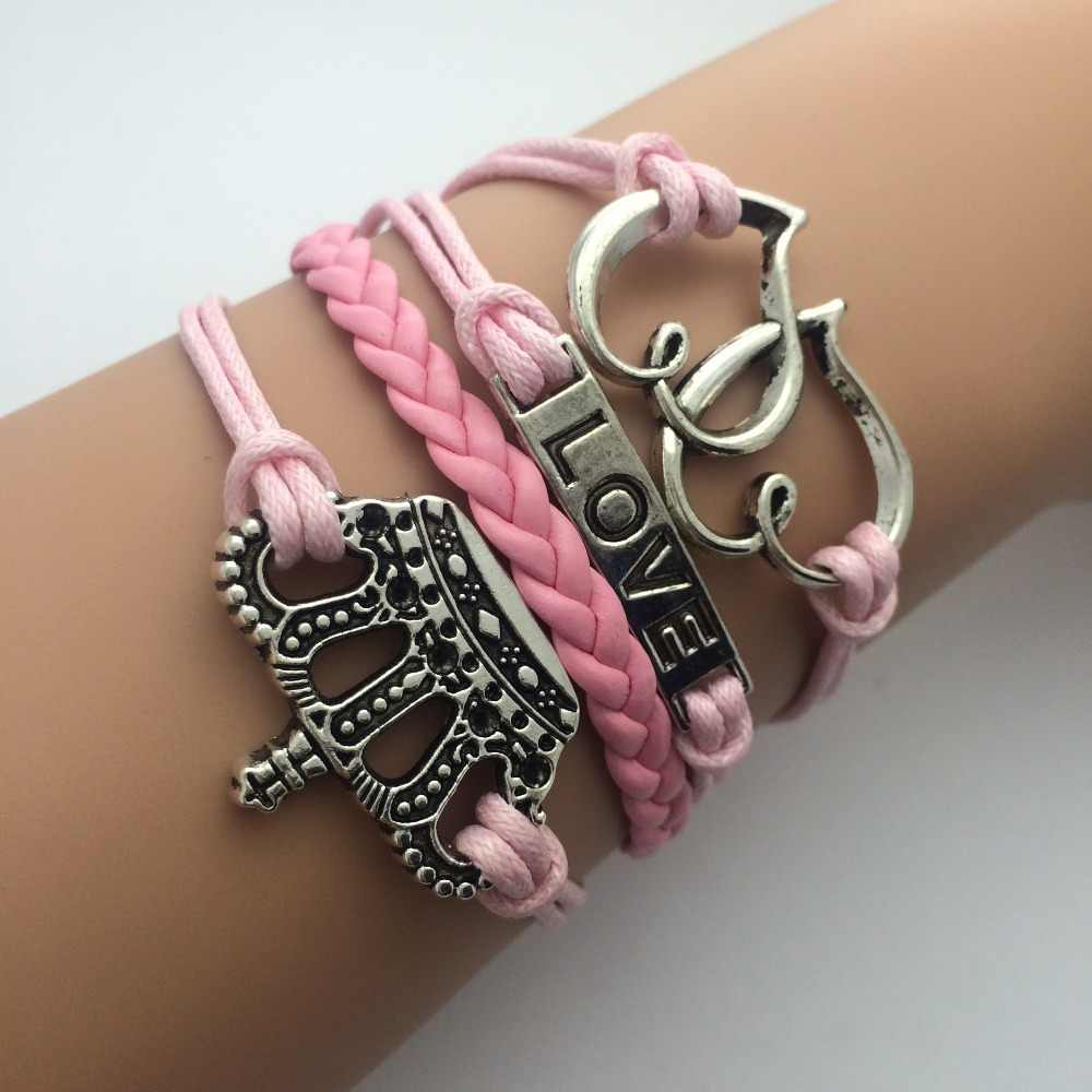 Charm Fashion Jewelry Leather Double Infinite Multilayer Braided Wax Rope Bracelets  AB024