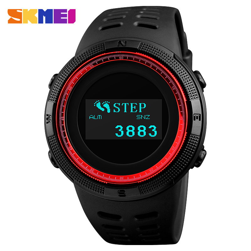 Sports Watches Pedometer Calorie Digital Watch For Men Compass Thermometer Men's Wrist Watch Outdoor relogio masculino SKMEI outdoor sports watches men skmei brand countdown led men s digital watch altimeter pressure compass thermometer reloj hombre