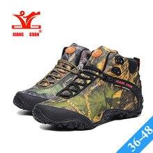 XIANG GUAN CAMO High Hiking Shoes Man Outdoor Fishing Athletic Trekking Boots Womens Climbing Walking Camo Sneakers Lovers 36-48