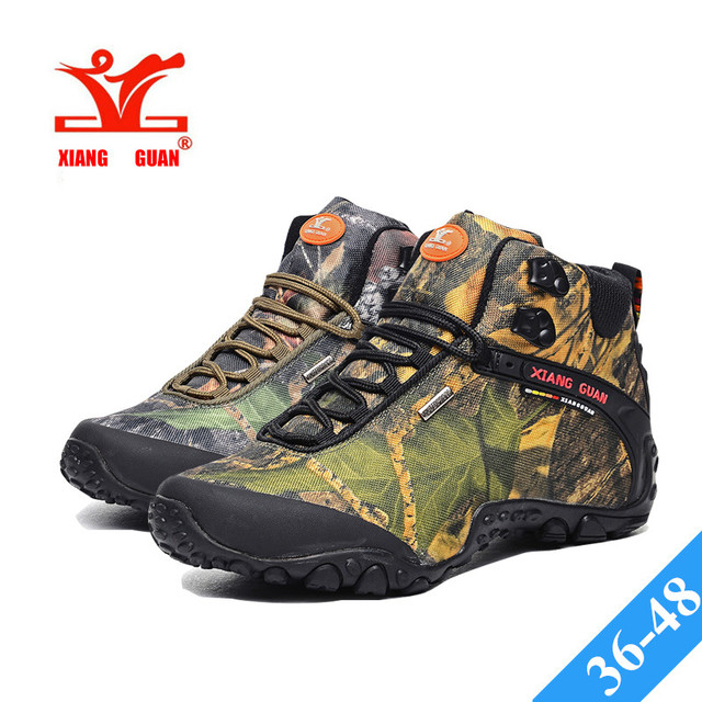 XIANG GUAN CAMO High Hiking Shoes Man Outdoor Fishing Athletic Trekking  Boots Womens Climbing Walking Camo Sneakers Lovers 36-48 4ce3b9a1a