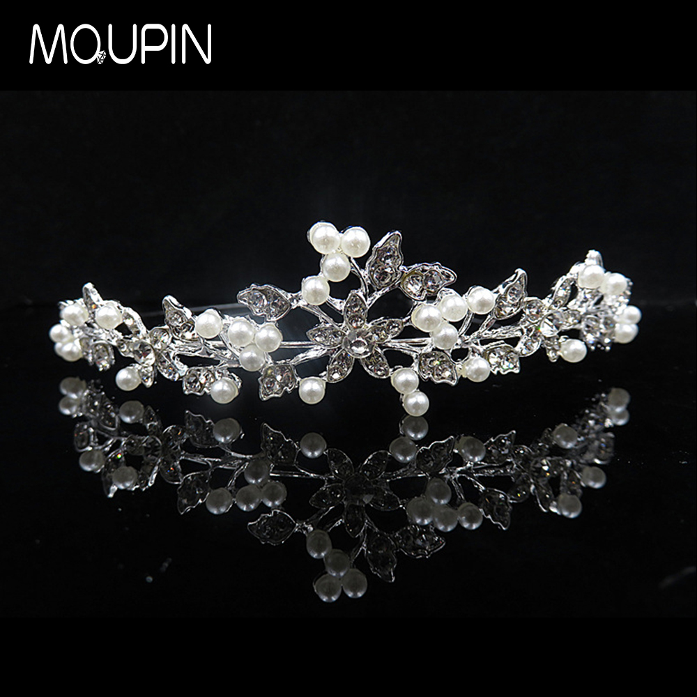 MQUPIN Imitation Pearl flower Clear Crystal Princess Queen hair accessories Diadem Rhinestone Bridesmaid Bride party decoration