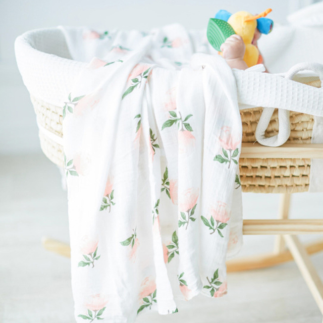 Organic Cotton Muslin Swaddle Blanket baby Gauze Bath Towel Sleeping Bed Supplies Hole Wrap Infant Baby Warp Animals Bed Sheet For All (0-3 years) Nursery Shop by Age Swaddle Blankets