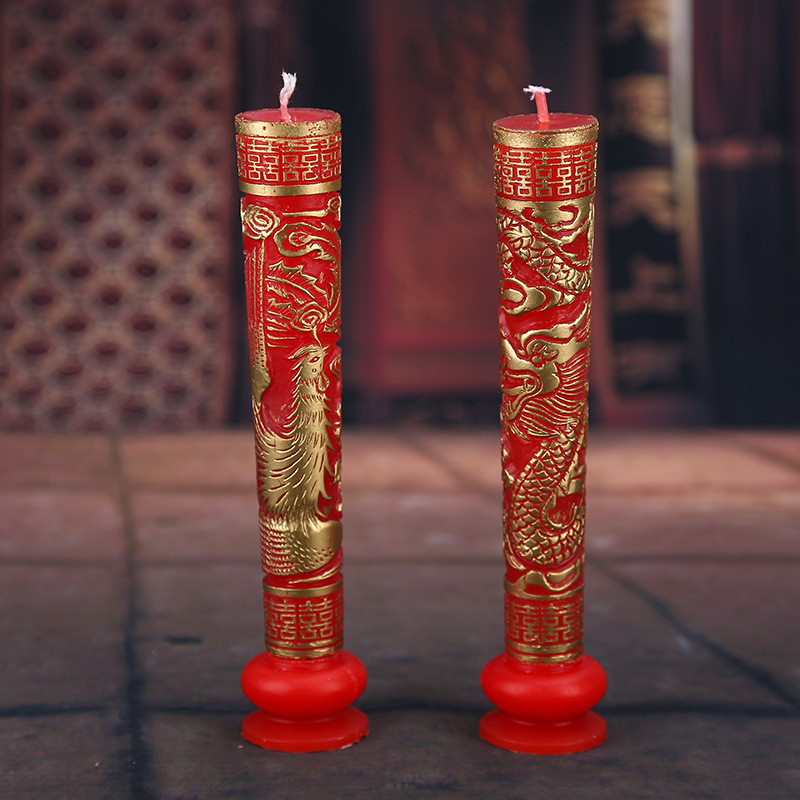 1 Par de Talla Exquisita Patrón de Dragón y Fénix de Oro Rojo de la Boda La Fies