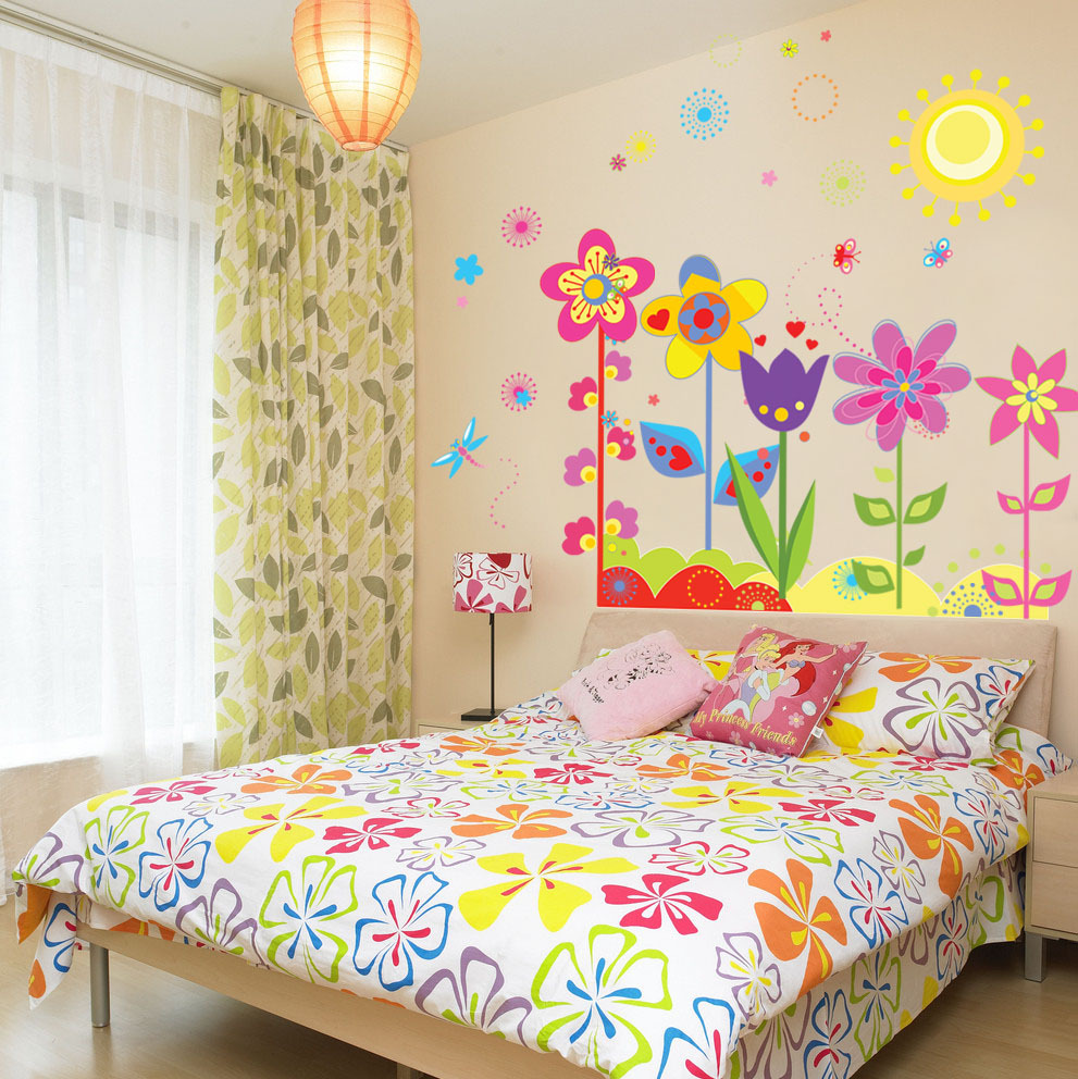 Kids Room Wall Design: Cute Cartoon Flowers Wall Sticker For Kids Room Home Decor