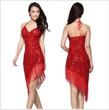 New style Latin dance costume mesh sequins tassel latin deance dress for women latin dance exercise dresses 5kinds of colors