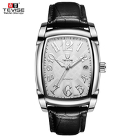 TEVISE Automatic Mechanical Men Watch Luminous Genuine Leather Watches Water-Proof Self-Wind Man Calendar Wristwatch