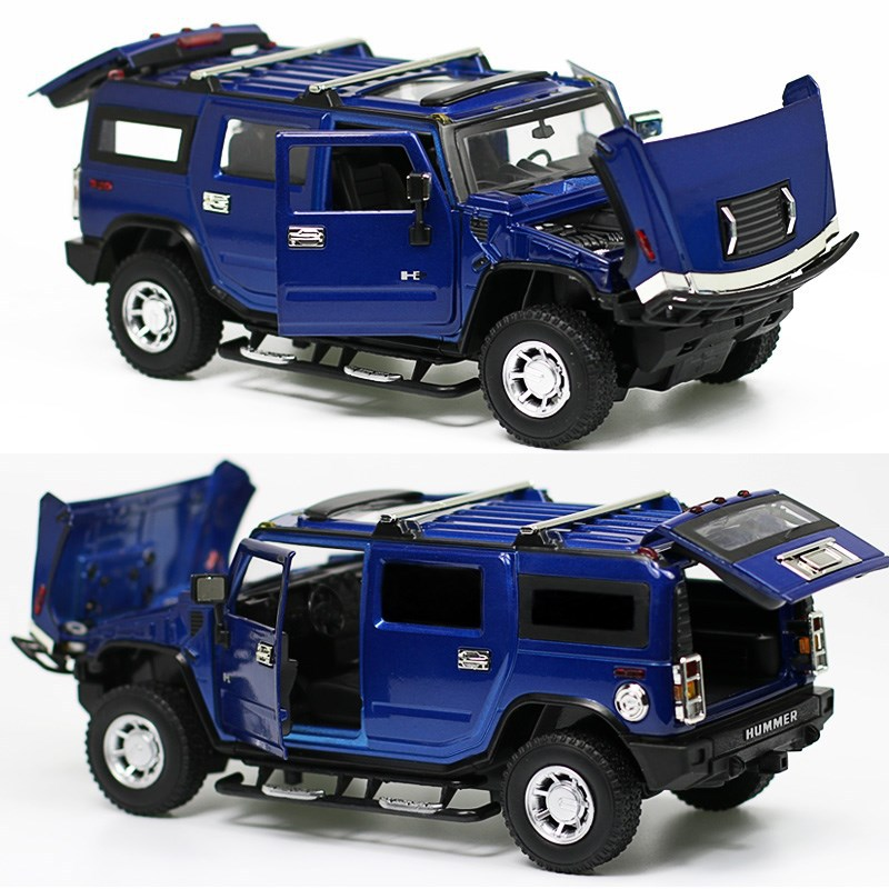 Realistic Die-cast Model Car 1:24 scale car carros de metal toys for children/ kids1:24 For Hummer H2 SUV collectible toy remote control charging helicopter