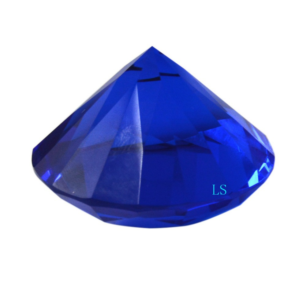 50 mm massief kristalblauwe centerpieces 5 cm glasdiamant voor home decor 2 inch presse-papier BlueGem