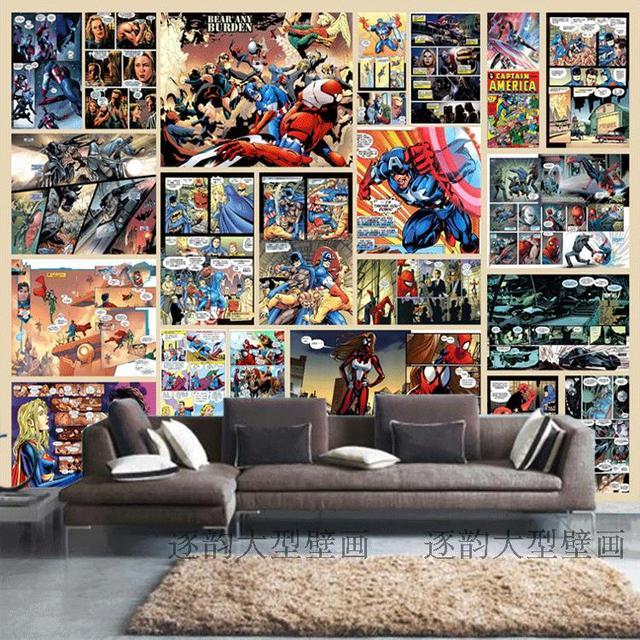 Free shipping captain america wallpaper spiderman batman for Batman mural wallpaper