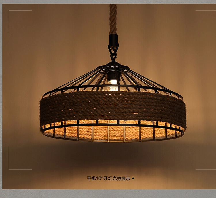 American Countryside Hemp Rope Pendant Lamp Rope Birdcage Light Cafe Decoration Light D430MM AC90-265V Free Shipping