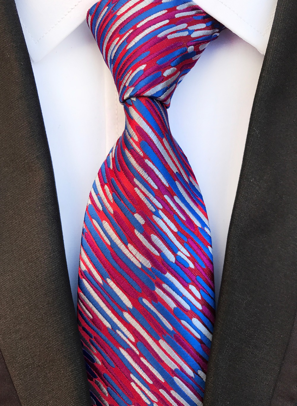 New Design Pattern Purple White Ties Jacquard Woven Silk Ties Men Neck Tie 8CM Tie For Men Wedding Suit Business Party Gravatas