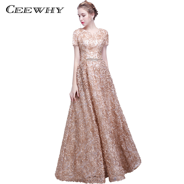Ceewhy Khaki Robe De Soiree Longue 2018 Prom Dresses Short Sleeve