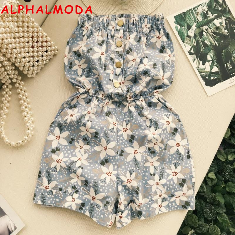 ALPHALMODA 2018 Summer Casual Holidays Strapless Floral Print Playsuits Single Breasted Pocket Women Beech High Waist Rompers