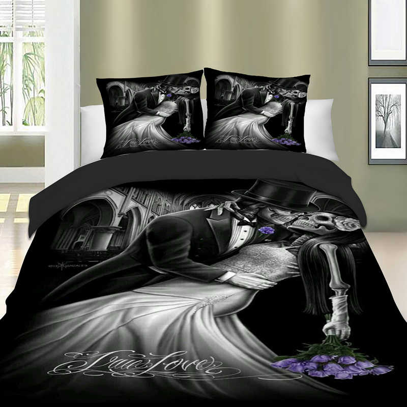 Romantic Skull Bedding Set Twin Full Queen King Super King Double Size Duvet Cover Quilt Cover Pillow Cases Cool Bed Lines 3pcs