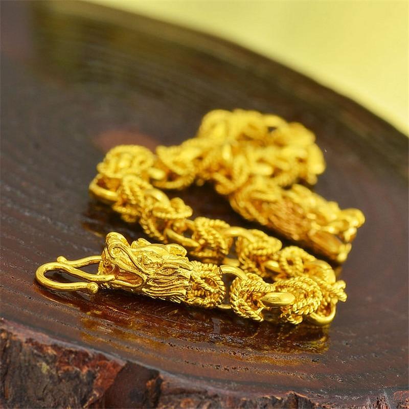 2015 Mens Cool Dragon Chain Bracelets 24k Yellow Gold Jewelry Hot