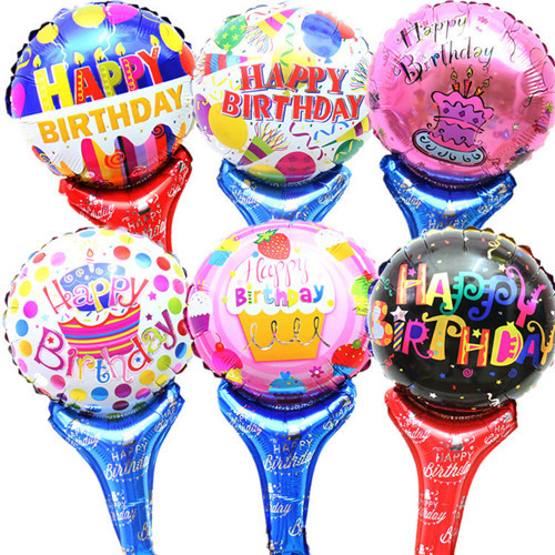 Birthday balloons hand hold stick balon Happy Birthday Decoration balloon for pa