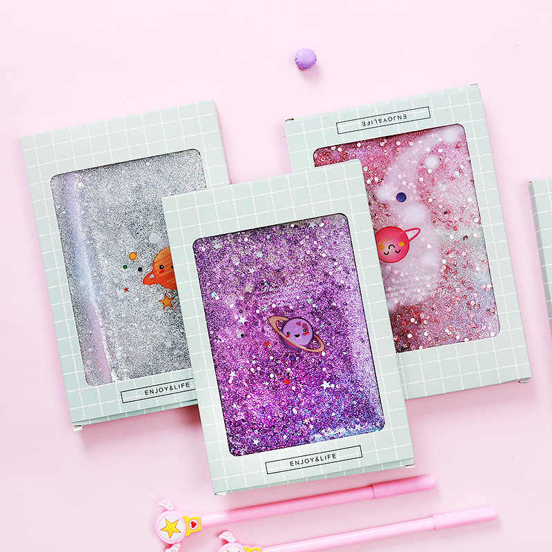 17.6*12.5 Pvc Cover Glitter Liquid Star Cute & Kawaii Notebook Paper Notepad Dialy Books for School Office Supply Stationery