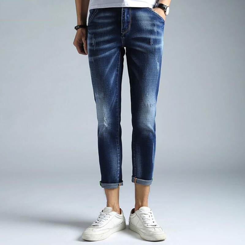 Men Jeans Skinny Ripped Stretch Slim High Elastic Blue Biker Jean Tight Tapered Quality Mens Cropped Pants Ankle Length Trousers patch jeans men slim skinny denim blue jeans ripped trousers famous brand dsel jeans elastic pants star mens stretch jeans w701