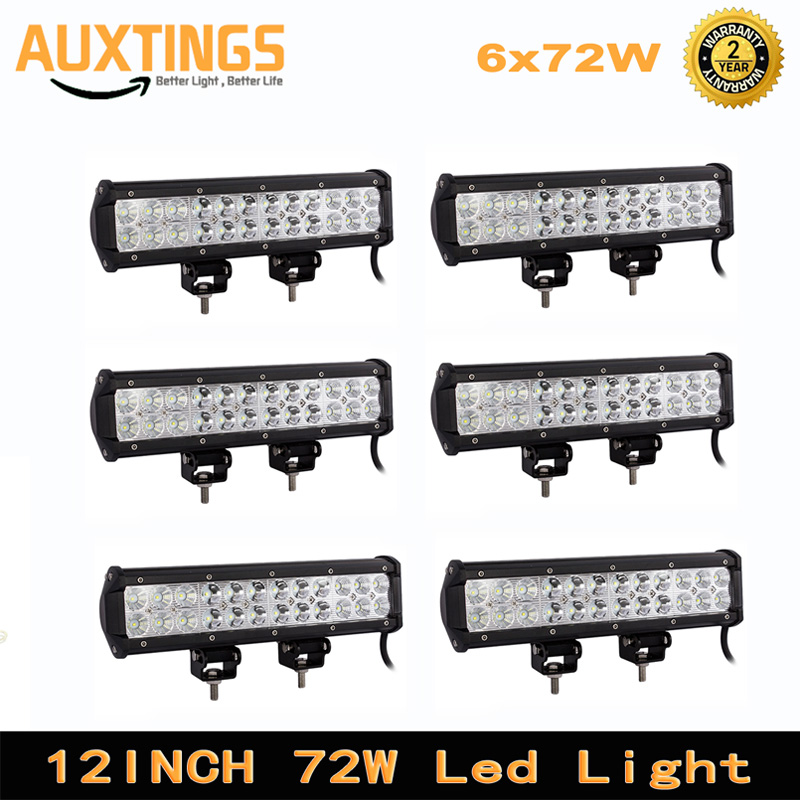 6pcs 72w 12inch LED Work Light LED Bar Light for Motorcycle Tractor Boat Off Road 4WD