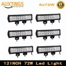 6 قطعة 72w 12 بوصة LED العمل ضوء LED شريط ضوء ل دراجة نارية جرار قارب قبالة الطريق 4WD 4x4 شاحنة SUV ATV