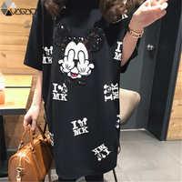 Mujeres Minnie vestido de dibujos animados Mini manga corta verano suelta Midi Vestidos de gran tamaño negro ropa Mujer embarazada