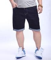 ขนาดบวกยีนส์ผู้ชายคาปรีสบายๆกางเกงขาสั้นชายหาดฤดูร้อนโรบินสีฟ้าล้างฌองสั้นด้อยตรงbikerฉี...