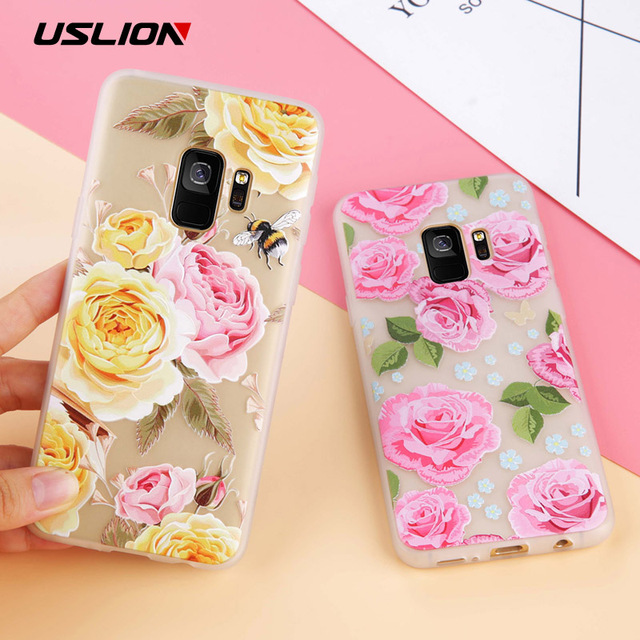 detailed look 9afbd e9bf8 US $1.58 20% OFF|USLION Flower Case For Samsung Galaxy S8 S9 Plus 3D Rlief  Rose Floral Leaves Phone Case Soft TPU Clear Back Cover For Samsung S9-in  ...
