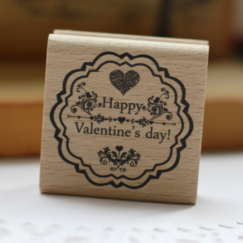 цены High quality Happy Valentines's day desgin 5*5cm carimbo for wooden scrapbooking rubber stamps For card diy stempel