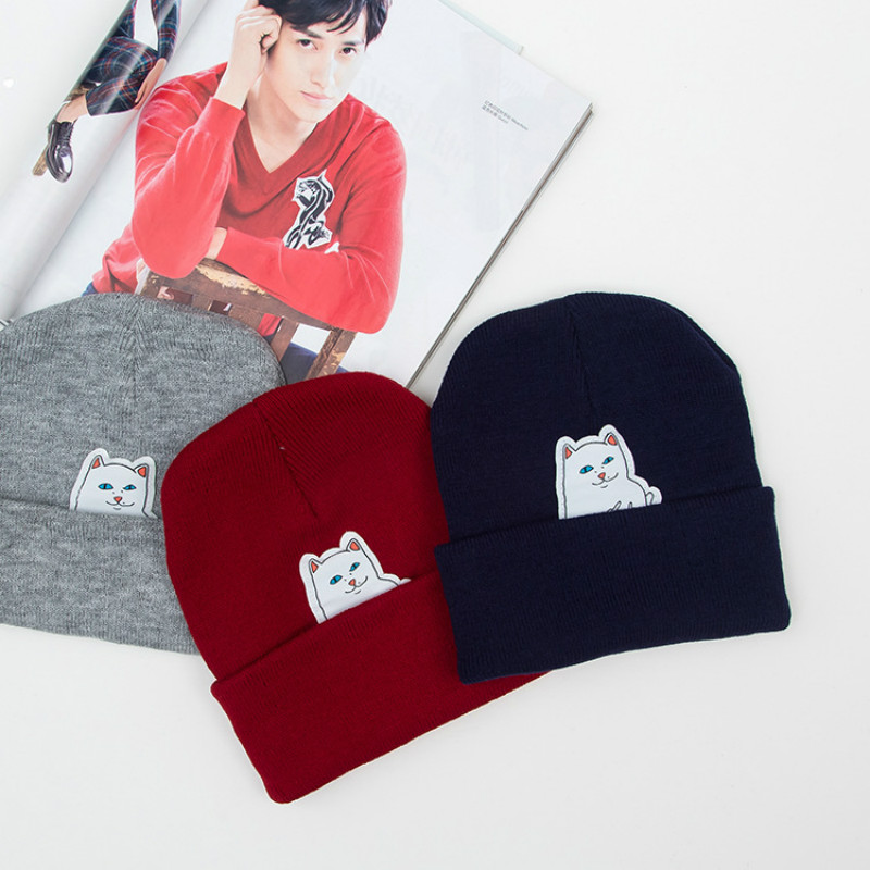 SexeMara 2017 Winter New Hat Cartoon Pocket Cute Cat Print Hat Cotton Knit Cap Fashion Casual Hip Cap Neutral SCA20107 the new children s cubs hat qiu dong with cartoon animals knitting wool cap and pile