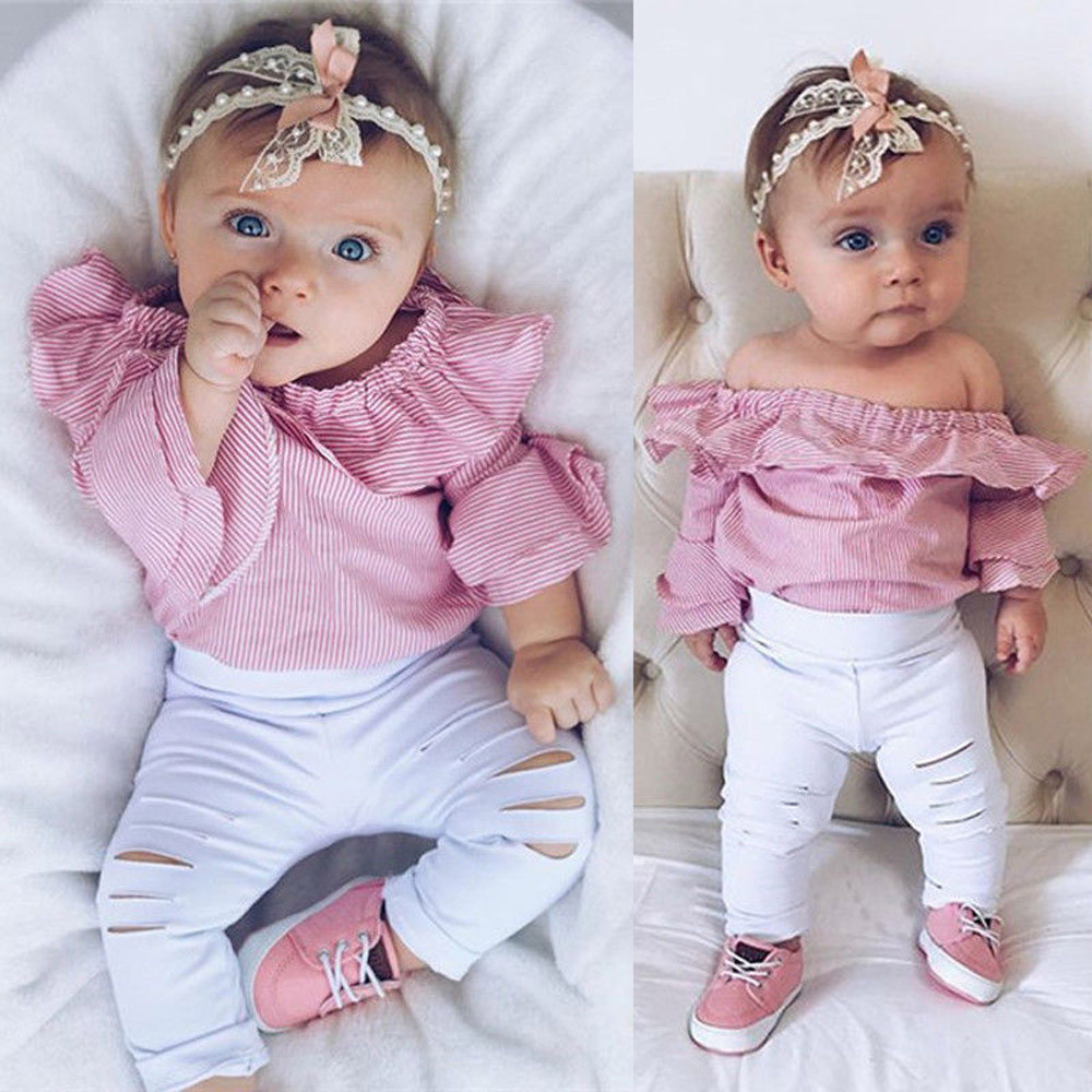 MUQGEW Toddler Infant Overalls Baby Girl Clothes Striped Tops Romper Ripped Pants Outfits Clothes Set roupas infantis menina