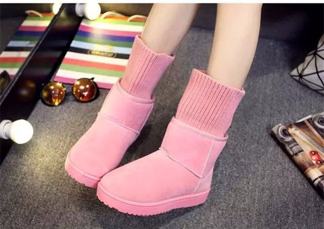 KUYUPP Patchwork Knitting Wool Women Snow Boots Winter Shoes 2016 Flat Heels Warm Plush Ankle Boots Slip On Womens Booties DX119 (75)