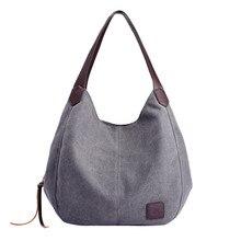 6494f91cea9b2 Damskie płócienne torebki wysokiej jakości kobiet Hobos pojedyncze torby na  ramię rocznika jednolity wielu kieszeni torby